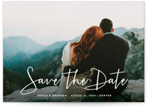 This is a white petite save the date by Hooray Creative called Stylish Script with standard printing on smooth signature in petite.