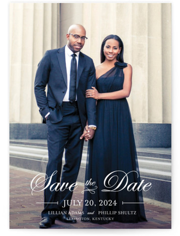 This is a landscape, portrait classic and formal, full bleed photo, white Save the Dates by lena barakat called At Last with Standard printing on Signature in Petite Flat Card format.