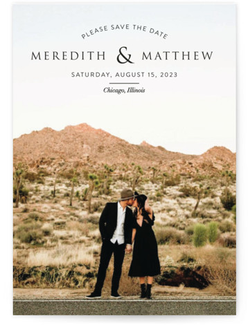 This is a landscape, portrait simple and minimalist, black Save the Dates by Erin Deegan called Mark Your Calendar with Standard printing on Smooth Signature in Petite Flat Card format. Full bleed photo save the date card with a typographic ...
