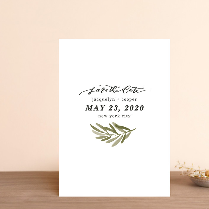 """Olive Branch"" - Save The Date Petite Cards in Olive by Wildfield Paper Co.."
