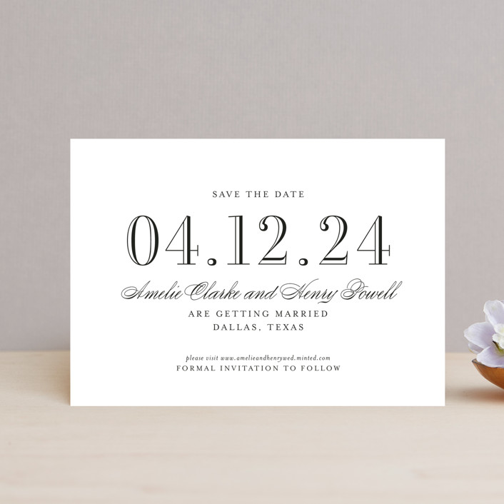 """Hepburn"" - Save The Date Petite Cards in Tuxedo by Toast & Laurel."