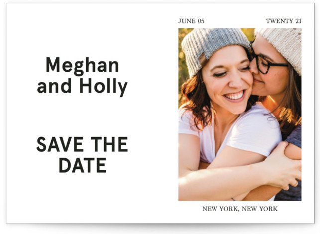 This is a bold and typographic, simple and minimalist, white Save the Dates by Jack Knoebber called Booklet with Standard printing on Smooth Signature in Petite Flat Card format. A simple, typographic layout.