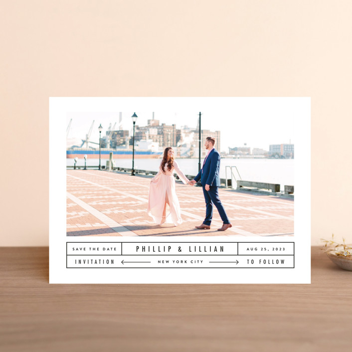 """""""Between The Lines"""" - Modern Save The Date Petite Cards in Blazer by Fine and Dandy Paperie."""