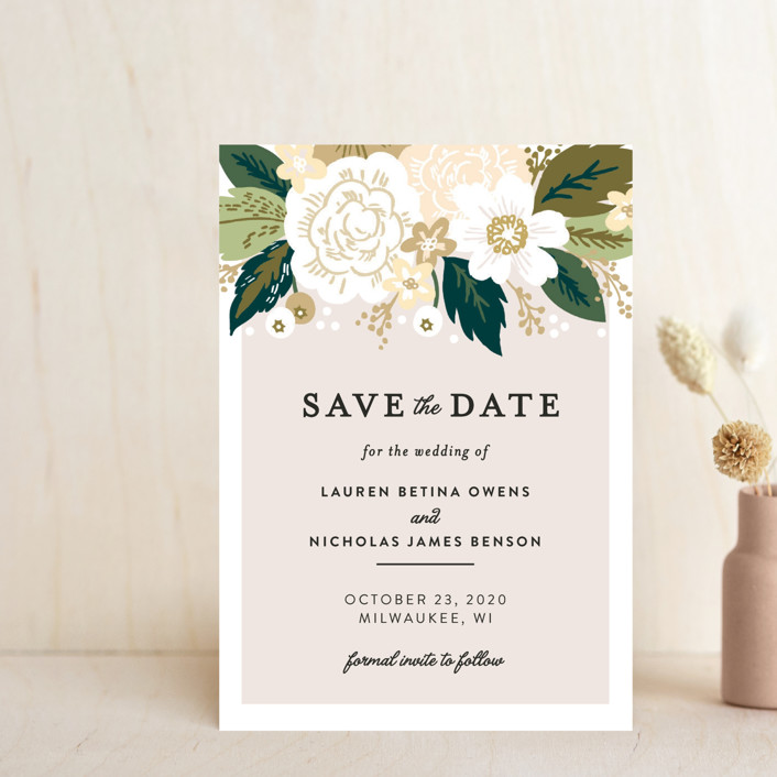 """Classic Floral"" - Save The Date Petite Cards in Cream by Alethea and Ruth."