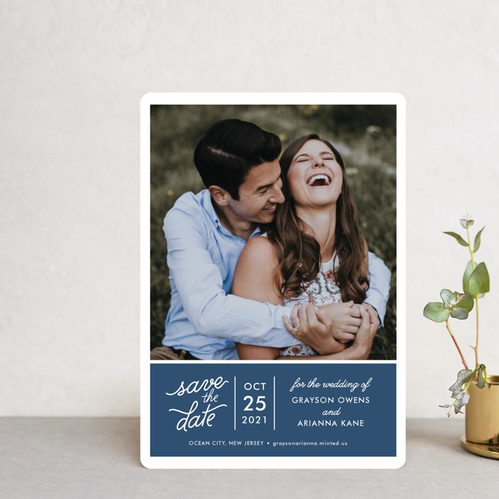 """""""Sweet & Modern"""" - Save The Date Petite Cards in Navy by Jill Means."""