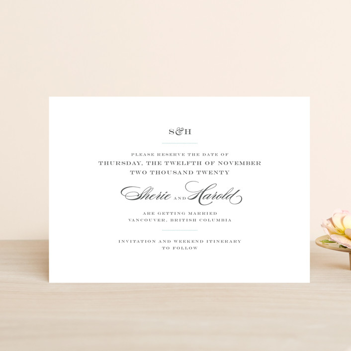 """""""Charming Go Lightly"""" - Save The Date Petite Cards in Light Aqua by danielleb."""