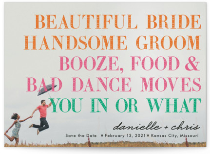 photo of You In Or What? Save The Date Petite Cards
