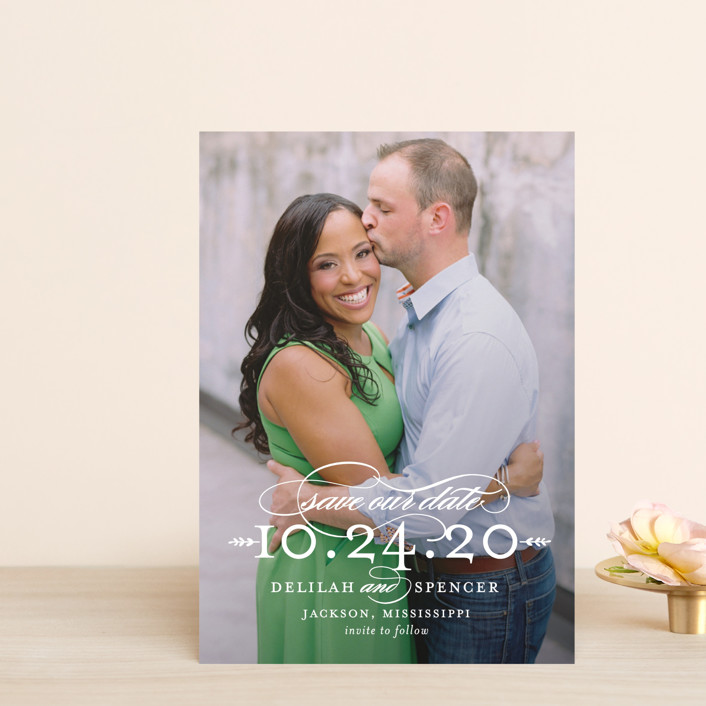 """""""Classically"""" - Save The Date Petite Cards in Pearl by Sarah Brown."""