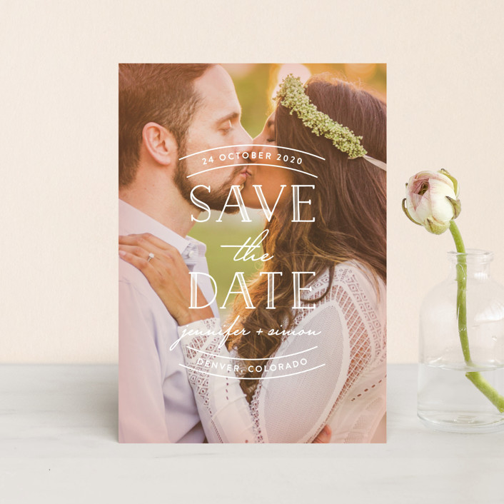 """""""Sweet Embrace"""" - Save The Date Petite Cards in Glow by Hooray Creative."""