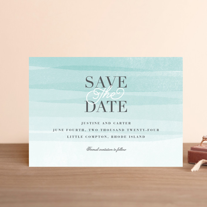 """""""Old Post Road"""" - Save The Date Petite Cards in Sea Salt by Jennifer Wick."""