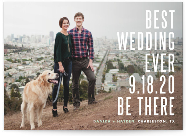 This is a landscape, portrait modern, green Save the Dates by Lauren Chism called Be There with Standard printing on Smooth Signature in Petite Flat Card format. For the clever and fun loving couple. Use this wording or customize your ...