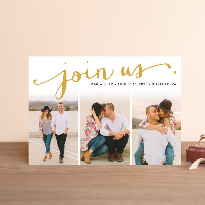 """""""Jotted"""" - Save The Date Petite Cards in Golden by Ashley Hegarty."""