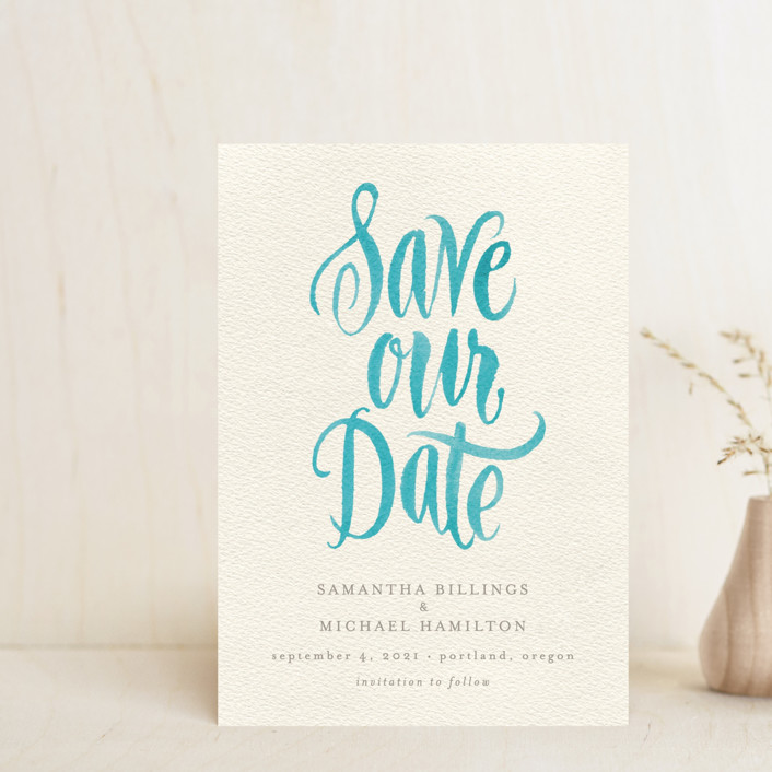 """""""Painted Simplicity"""" - Bohemian Save The Date Petite Cards in Turquoise by Laura Bolter Design."""