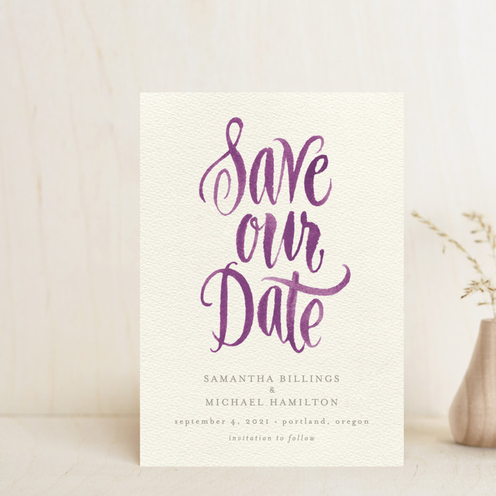 """""""Painted Simplicity"""" - Bohemian Save The Date Petite Cards in Plum by Laura Bolter Design."""
