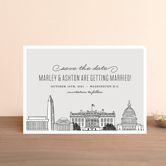 """Big City - Washington DC"" - Save The Date Petite Cards in Light Taupe by Hooray Creative."