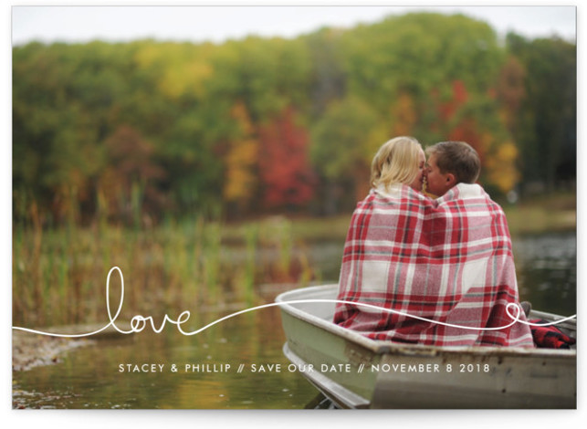 This is a landscape simple and minimalist, white Save the Dates by Kelly Ventura called Love Line with Standard printing on Signature in Petite Flat Card format. Add a bit more love to announce your special day to friends and ...