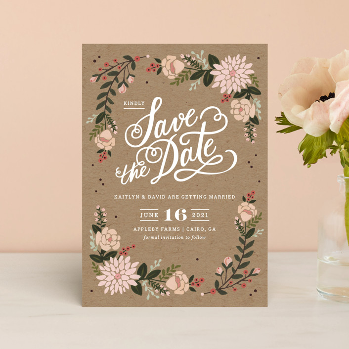 """""""Cottage Florals"""" - Rustic Save The Date Petite Cards in Kraft by Kristen Smith."""