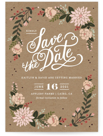 This is a portrait rustic, brown Save the Dates by Kristen Smith called Cottage Florals with Standard printing on Signature in Petite Flat Card format. Hand painted florals on kraft