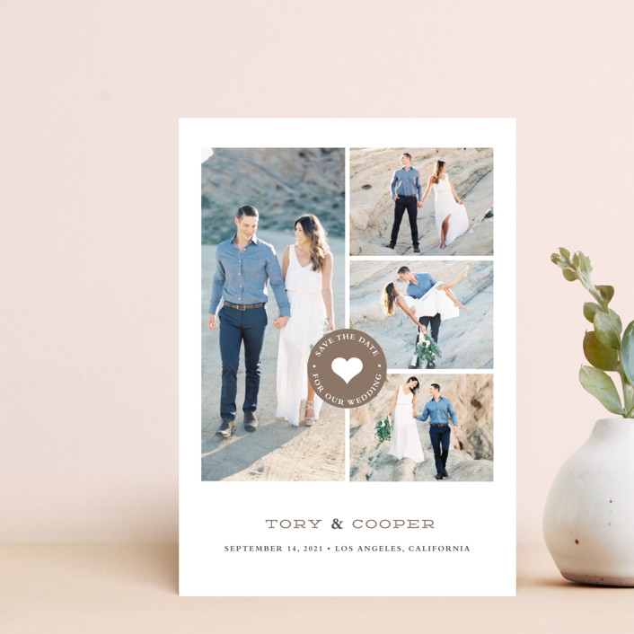 """""""Stamped Heart"""" - Modern Save The Date Petite Cards in Mocha by Stacey Meacham."""