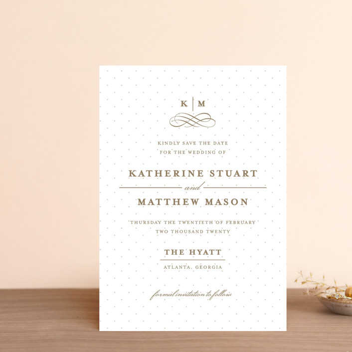 """A Glamorous Affair"" - Preppy Save The Date Petite Cards in Golden by Kristen Smith."