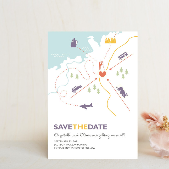 """Destination"" - Save The Date Petite Cards in Lilac Haze by leslie hamer."