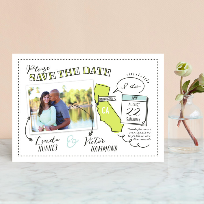 """""""Write It In Ink"""" - Save The Date Petite Cards in Lemongrass by Ann Gardner."""