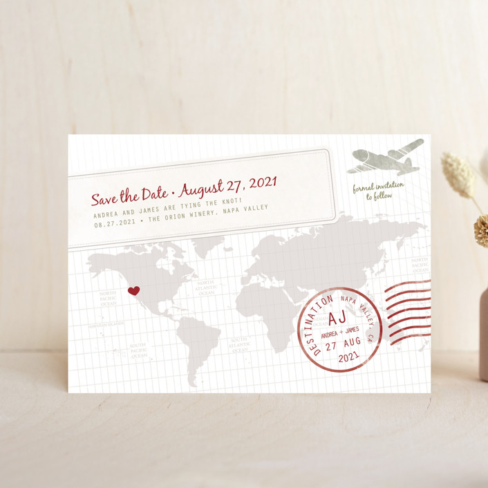 """A Faraway Destination"" - Save The Date Petite Cards in Cranberry by bumble ink."