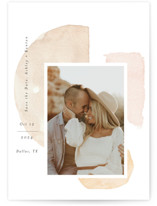 This is a beige petite save the date by Itsy Belle Studio called Fika with standard printing on pearlescent in petite.