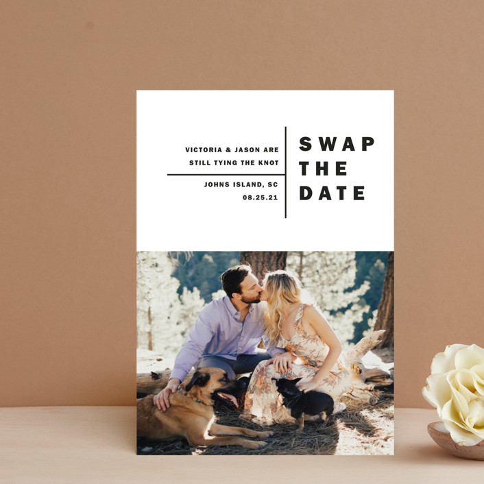 """""""Baseline"""" - Save The Date Petite Cards in Midnight by Alethia Frye."""