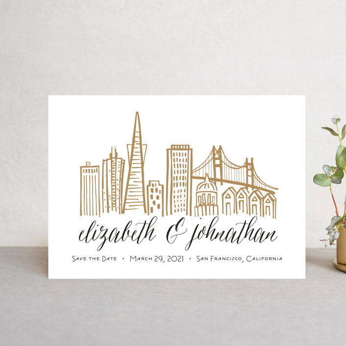 """Skyline - San Francisco"" - Save The Date Petite Cards in Gold Coast by Abby Munn."