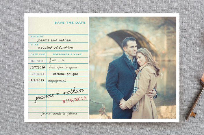 """Library Card"" - Save The Date Petite Cards in Teal by SimpleTe Design."