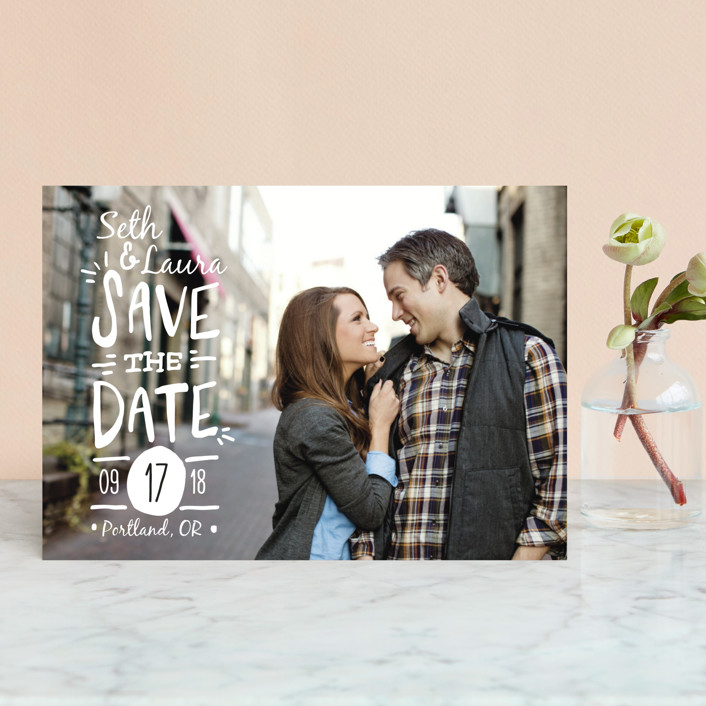 """Casual Calligraphy"" - Bohemian Save The Date Petite Cards in Ivory by Pistols."