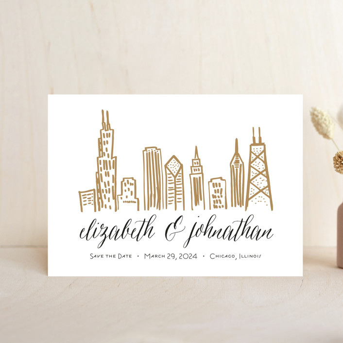 """Chicago Skyline"" - Save The Date Petite Cards in Gold Coast by Abby Munn."