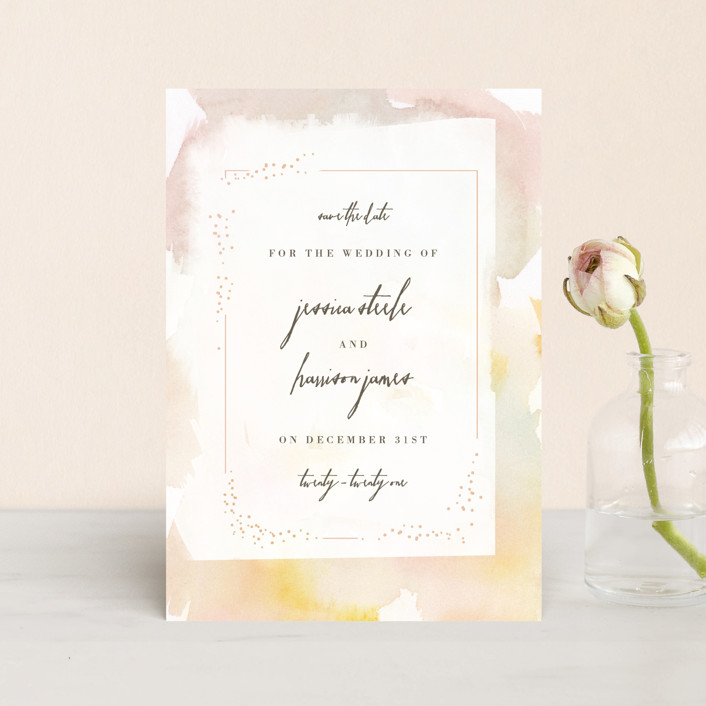 """""""Pretty"""" - Save The Date Petite Cards in Peony by Lori Wemple."""