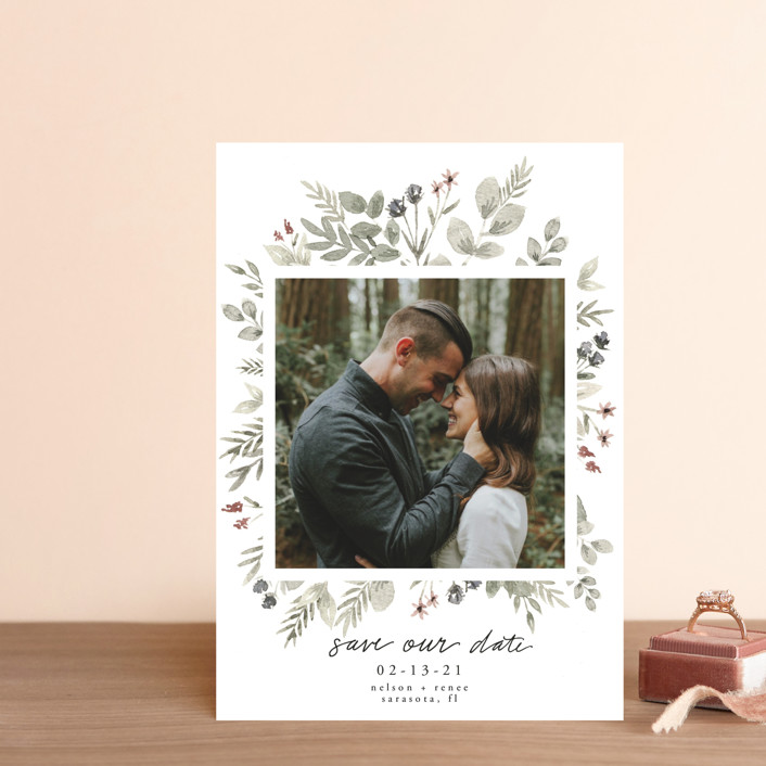 """""""Lovely Bloom"""" - Save The Date Petite Cards in Rust by Cole Dawn Miller."""