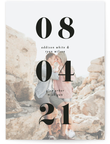 This is a bold and typographic, black Save the Dates by Pixel and Hank called We Found Love with Standard printing on Smooth Signature in Petite Flat Card format. A chunky font mixed with a subtle warm overly make this ...