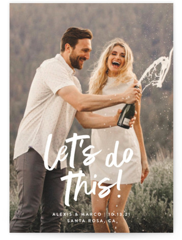 This is a bold and typographic, modern, whimsical, white Save the Dates by Olivia Raufman called Do This with Standard printing on Signature in Petite Flat Card format. A fun, celebratory design with an unexpected message.