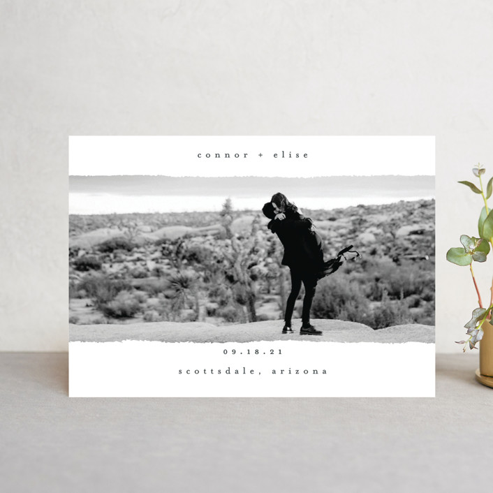 """""""happening"""" - Minimalist, Modern Save The Date Petite Cards in Charcoal by Faith Dorn."""
