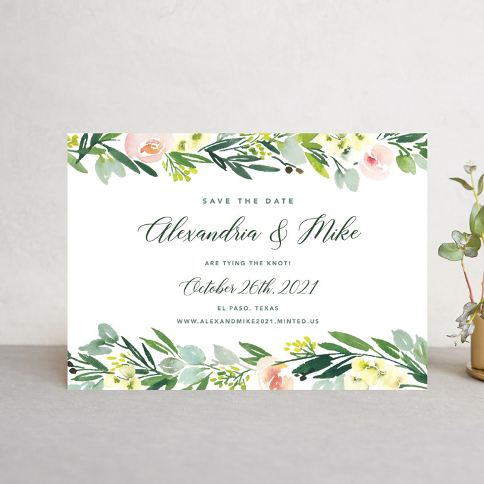 """""""Eucalyptus Wreath"""" - Floral & Botanical Save The Date Petite Cards in Eucalyptus by Yao Cheng Design."""