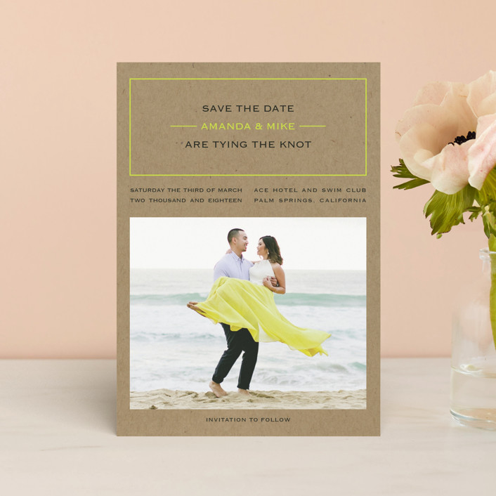 """""""Vintage Kraft"""" - Modern Save The Date Petite Cards in Chartreuse by Waldo Press."""
