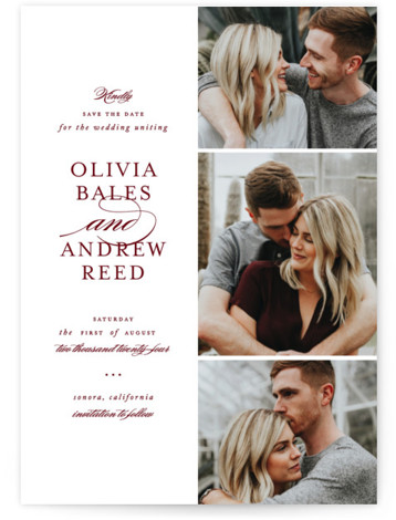 This is a portrait classic and formal, red Save the Dates by Jennifer Postorino called Proper with Standard printing on Smooth Signature in Petite Flat Card format. An elegant multi photo save the date card with simple type and clean ...