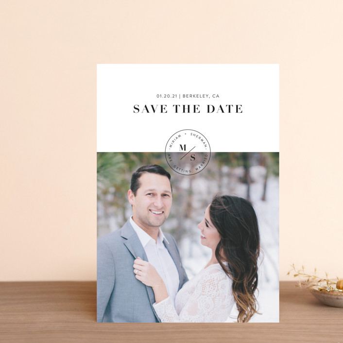 """Simple Stamp"" - Save The Date Petite Cards in Ivory by Becca Thongkham."