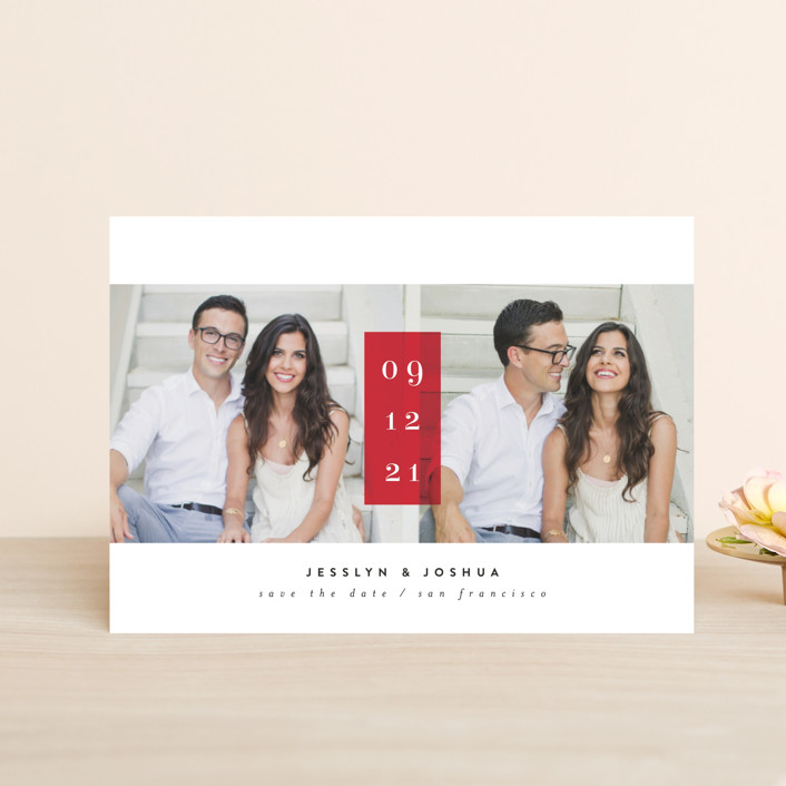 """""""framboise"""" - Bold typographic, Minimalist Save The Date Petite Cards in Cherry by chocomocacino."""