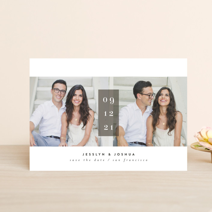 """""""framboise"""" - Bold typographic, Minimalist Save The Date Petite Cards in Stone by chocomocacino."""