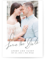 This is a grey petite save the date by Creo Study called Scribbled with standard printing on smooth signature in petite.