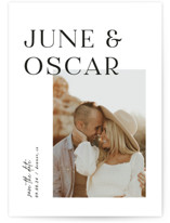 This is a white petite save the date by Pixel and Hank called Topped with standard printing on recycled in petite.