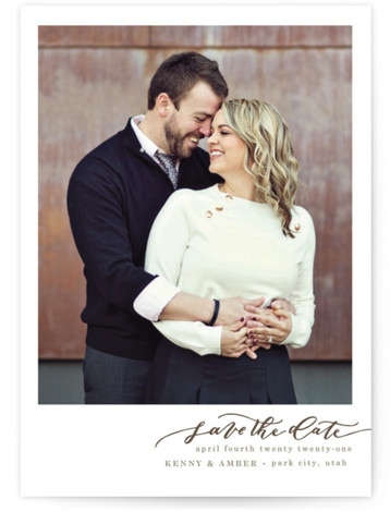 This is a landscape, portrait simple and minimalist, brown Save the Dates by Wildfield Paper Co. called Love at First Sight with Standard printing on Signature in Petite fold over (blank inside) format. Beautiful Calligraphy that will compliment any of ...