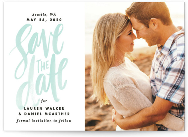 This is a landscape bohemian, blue Save the Dates by Alethea and Ruth called Watercolor Lettering with Standard printing on Signature in Petite Fold Over (Message Inside) format. This photo save the date features brush lettering and modern type.