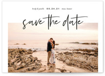 This is a black petite save the date by Katy Shen called Headlining Announcement with standard printing on smooth signature in petite.