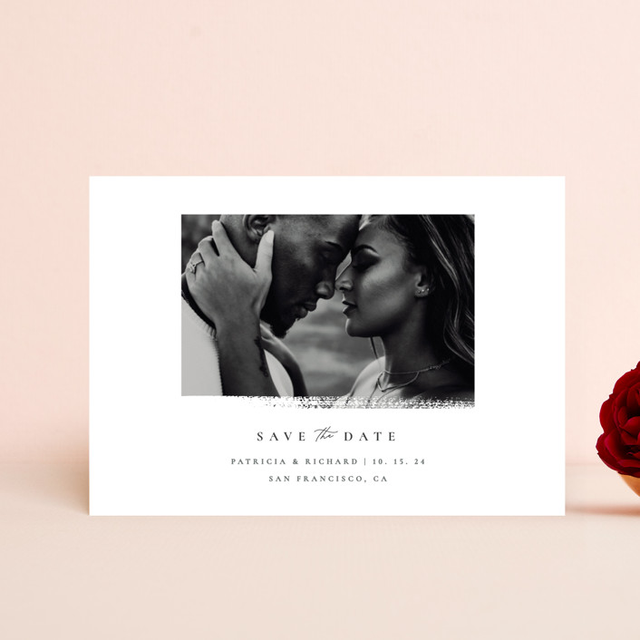 """""""minimalistic paint stroke"""" - Save The Date Petite Cards in Porcelain by Sumak Studio."""